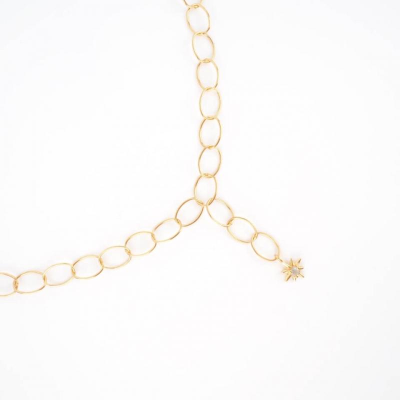 Estela gold long necklace -...