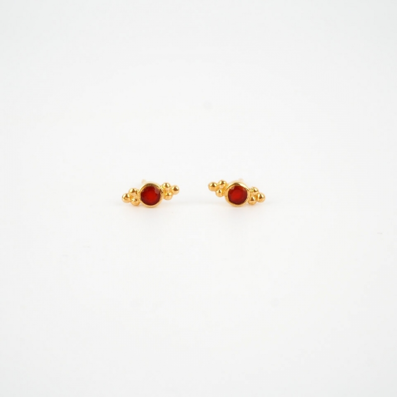 Briana red gold ear studs -...
