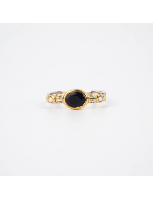 Ethnic chic black onyx small silver ring - Canyon