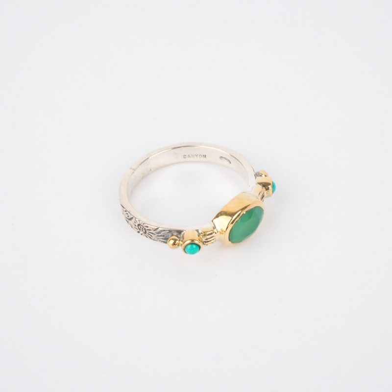 Ethnic chic chrysoprase PM silver ring - Canyon