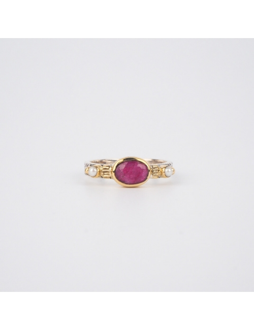 Ethnic chic Indian ruby ring PM in silver - Canyon