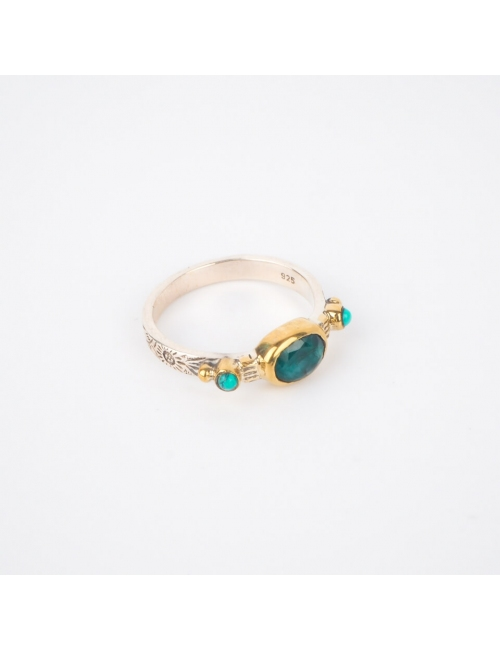 Ethnique chic malachite MS Silver ring - Canyon