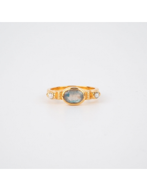 Ethnic chic labradorite PM ring in gold plated - Canyon