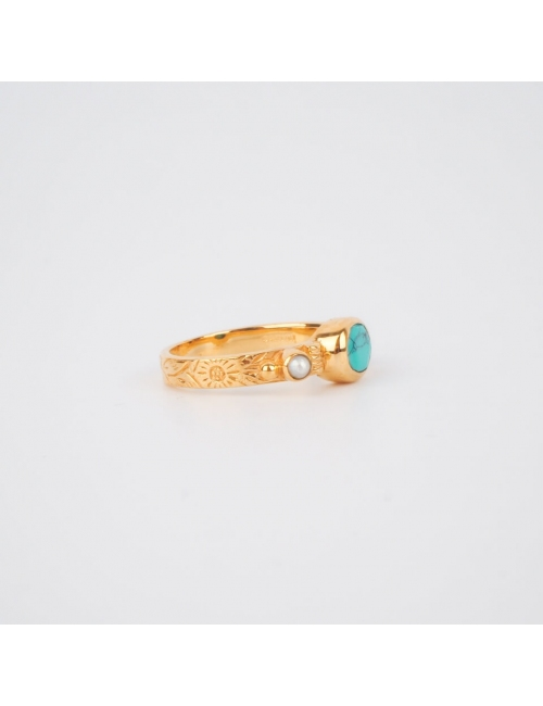Turquoise chic ethnic ring PM gold plated - Canyon