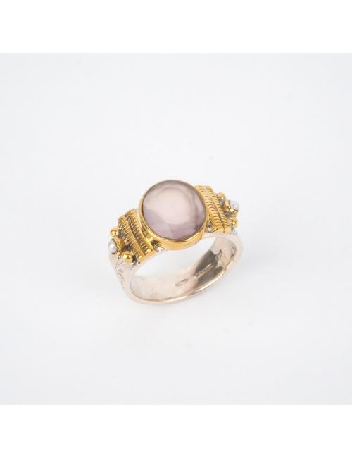 Ethnic chic rose quartz ring MM silver - Canyon
