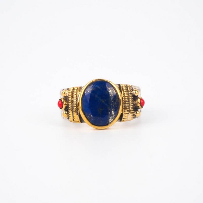 Bague ethnique chic lapis lazuli MM en argent - Canyon