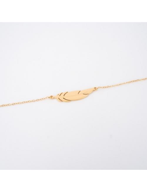 Feather gold bracelet - Zag Bijoux