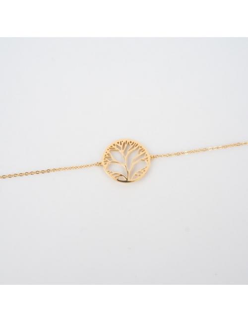 Bracelet arbre de vie en acier jaune - Zag Bijoux