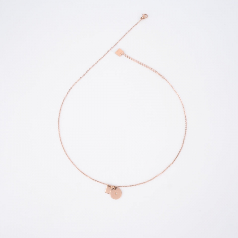 Star rose gold necklace -...