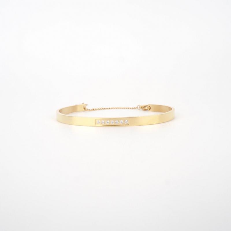 Sparkle chained gold bangle - Zag Bijoux