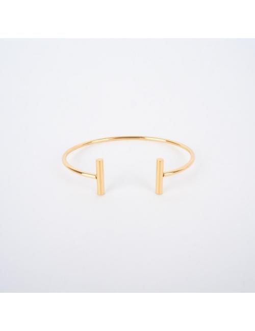 Bracelet jonc T en acier jaune - Zag Bijoux