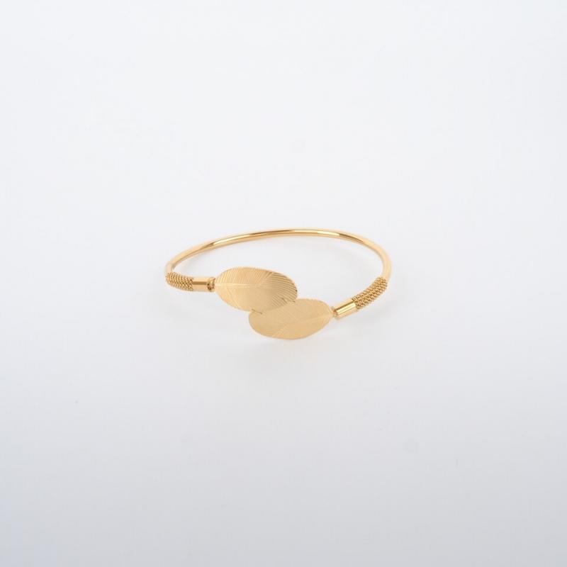 Double feather gold bangle bracelet - Zag Bijoux