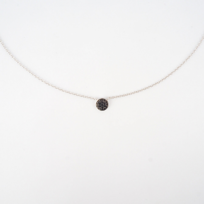 Shiny black silver necklace...