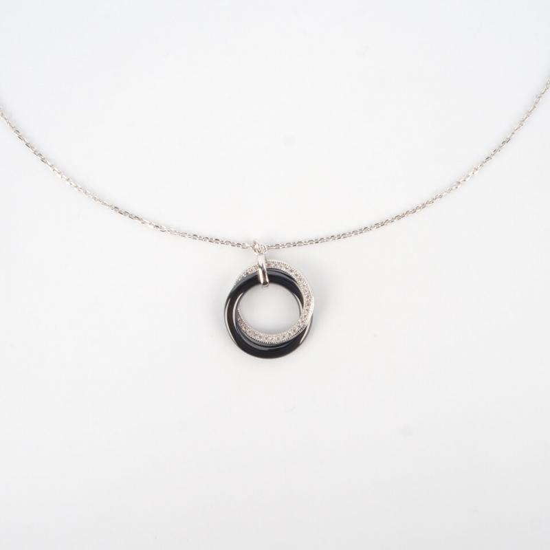Black ceramic silver necklace - Pomme Cannelle