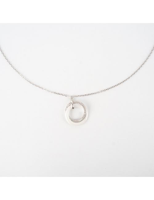 Collier céramica blanc en argent - Pomme Cannelle