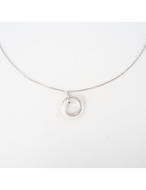 White ceramic silver necklace - Pomme Cannelle
