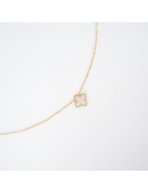 Mini pearly clover gold necklace - Zag Bijoux