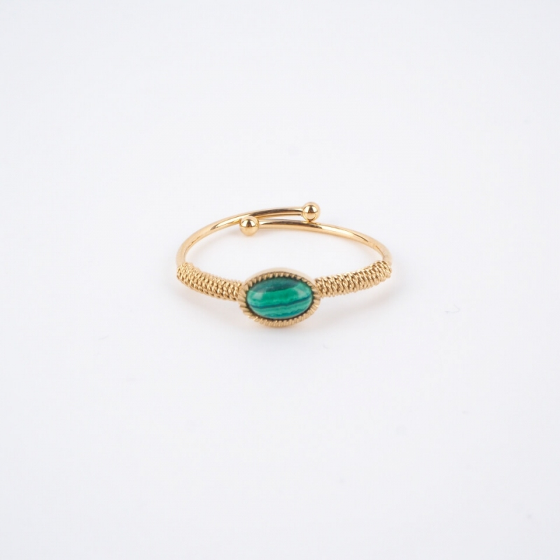 Oval stone malachite gold...