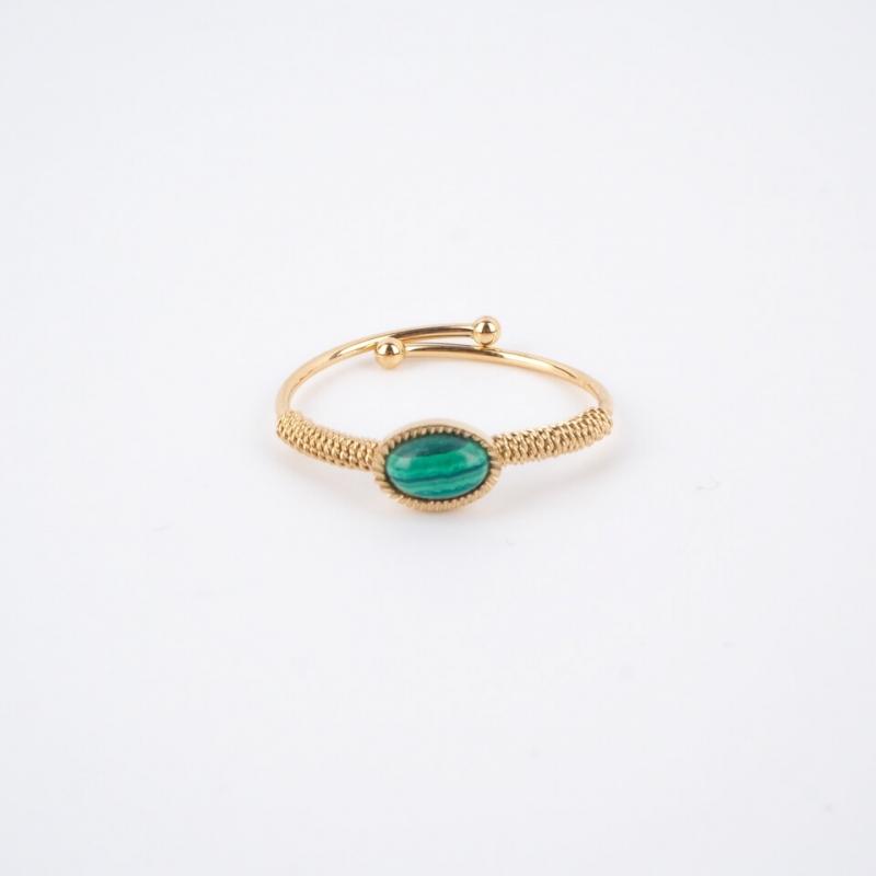 Oval stone malachite gold ring - Zag Bijoux - Zag Bijoux