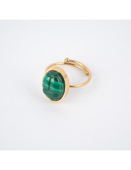 Malachite beetle cabochon gold ring - Zag Bijoux