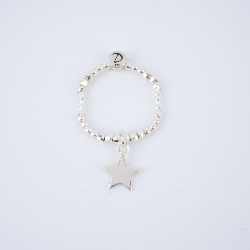 Silver star elastic ring -...