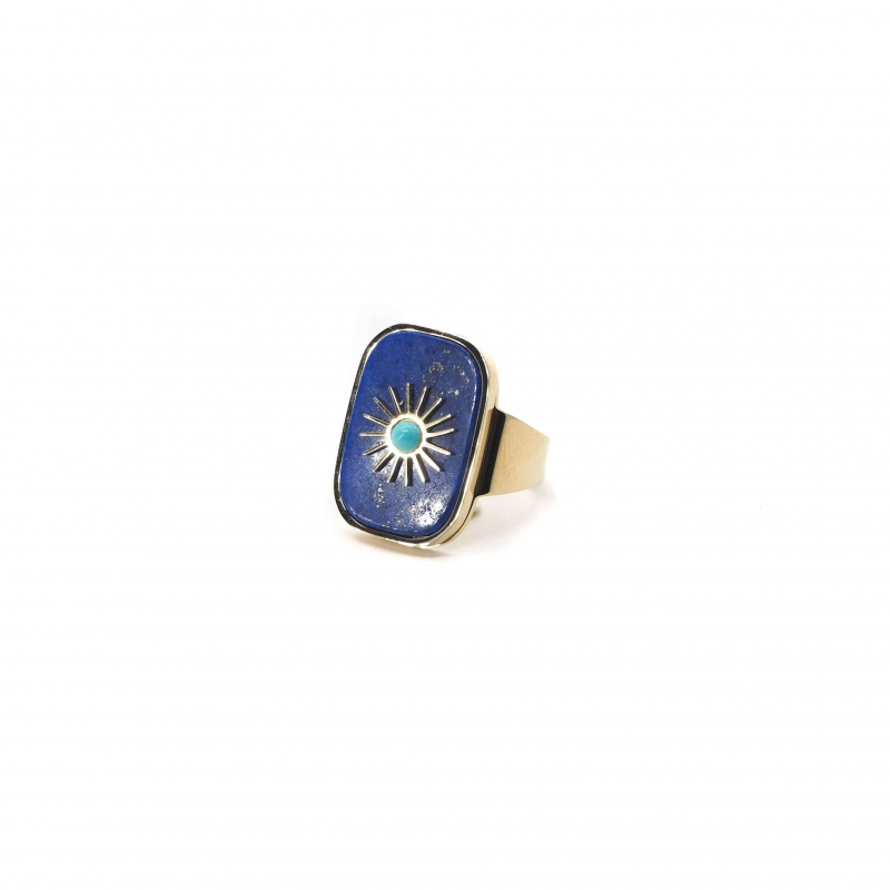 Stone sun blue gold ring -...