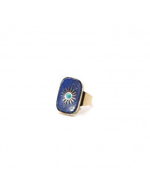 Bague stone soleil en acier jaune et lapis lazuli - Zag Bijoux