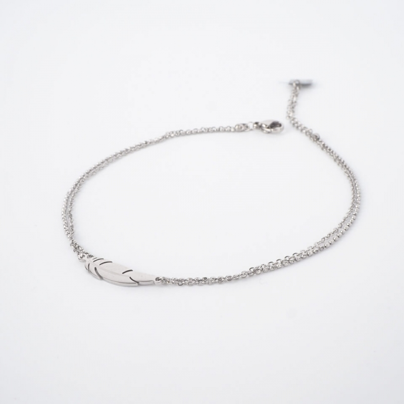 Feather silver anklet chain...