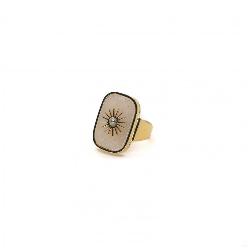 Bague stone soleil en acier jaune et agate blanche - Zag Bijoux