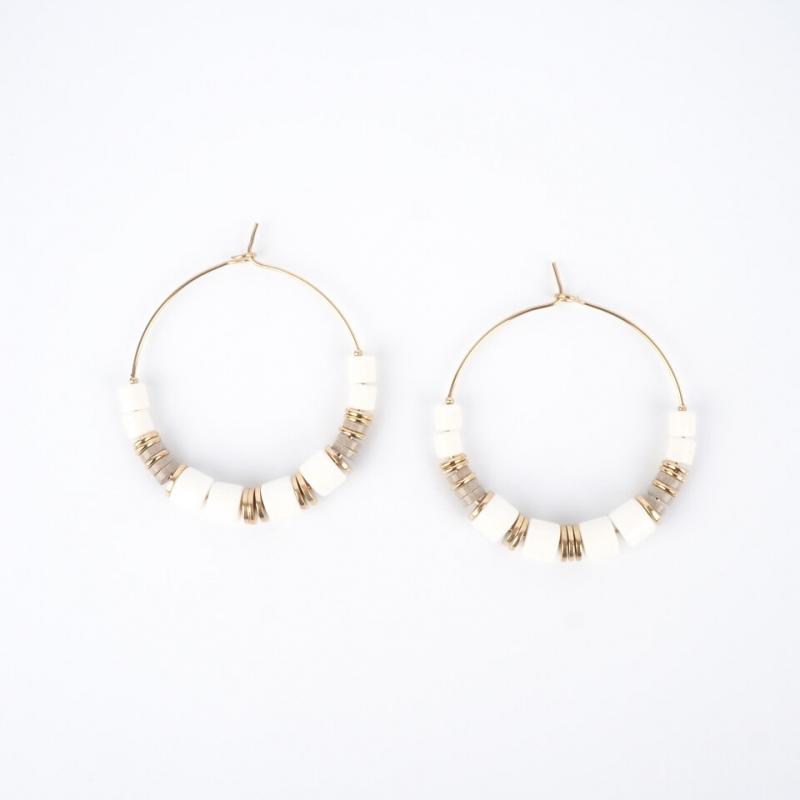 Boucles d'oreilles créoles Lulu en acier or - Zag Bijoux