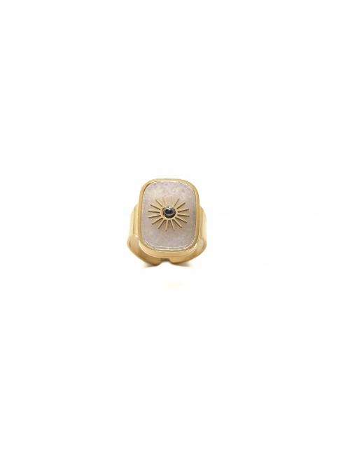 Stone sun white gold ring - Zag Bijoux
