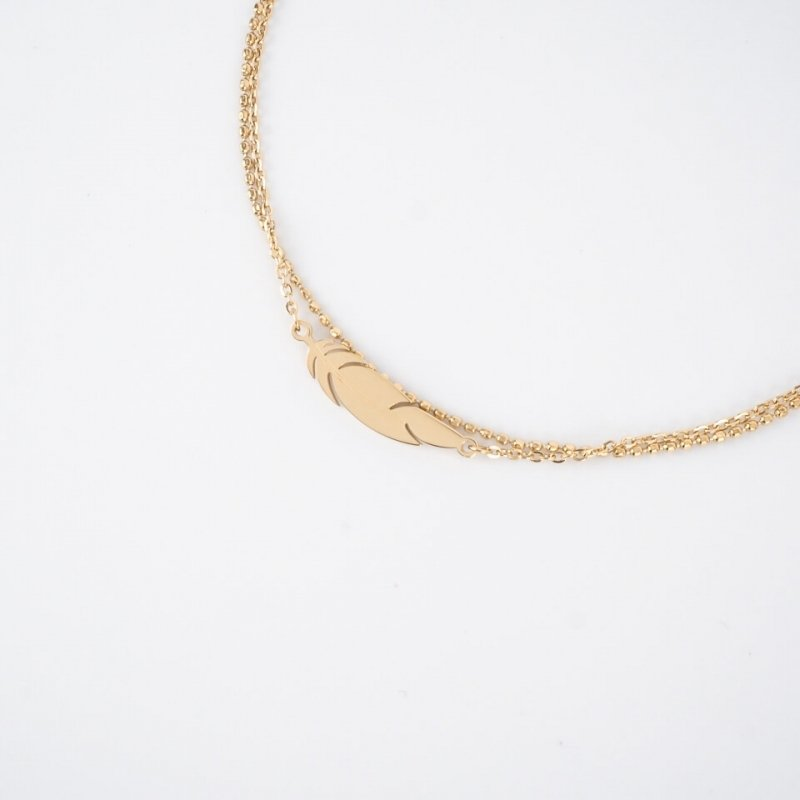 Feather gold anklet chain -...