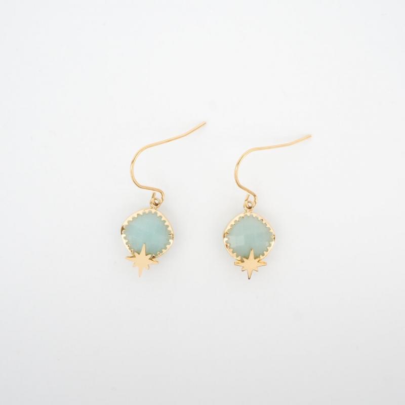 Horizon turquoise gold earrings - Zag Bijoux