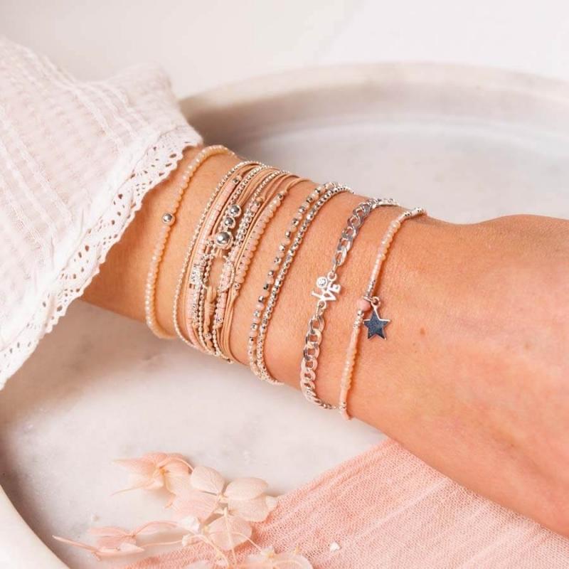 Bracelet beige rose triple...