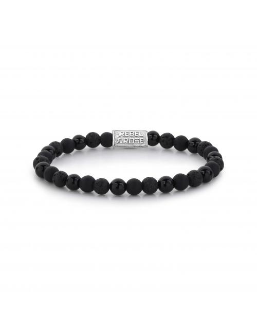 Black Rocks 6mm stone bracelet - Rebel & Rose
