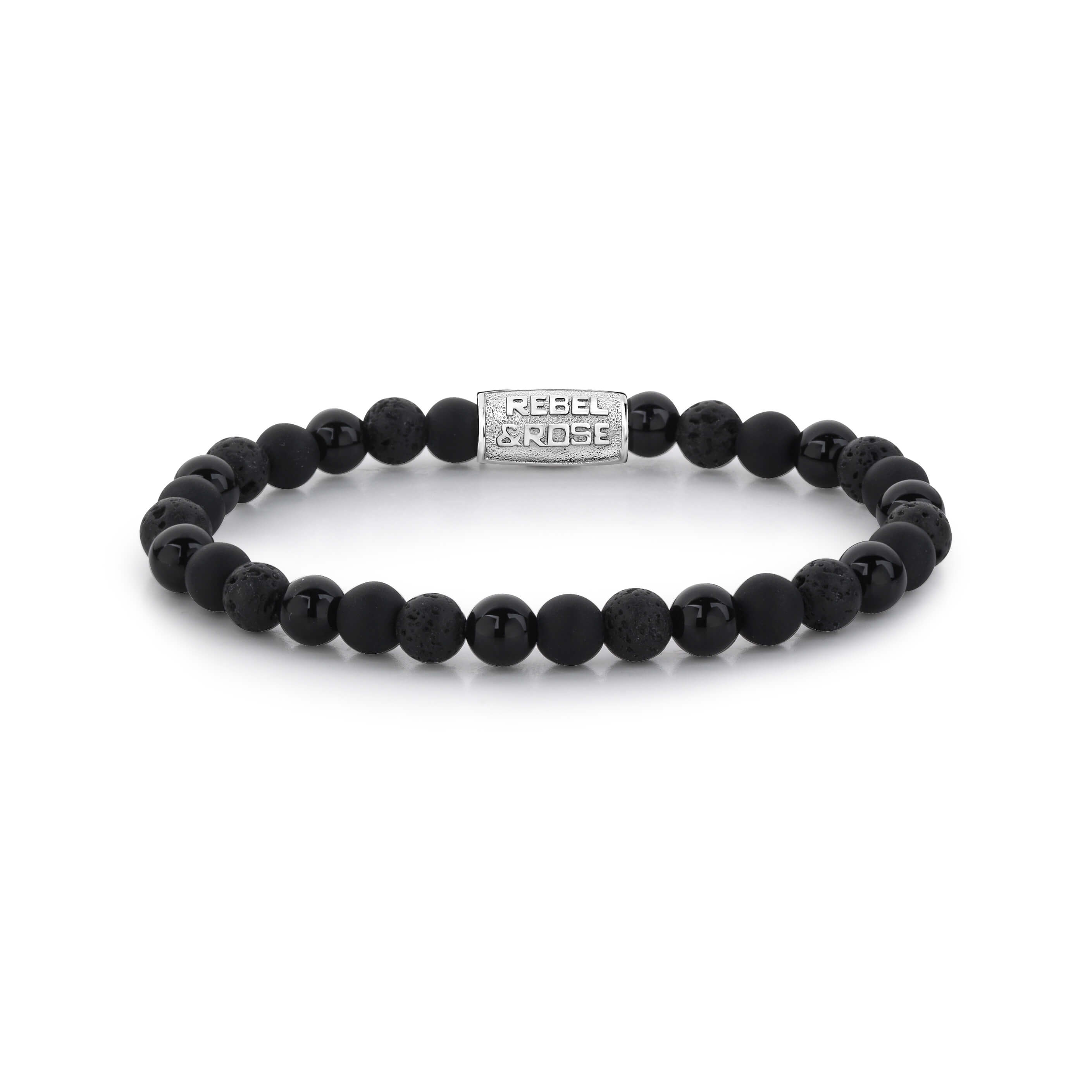 Bracelet Black Rocks 6mm - Rebel & Rose