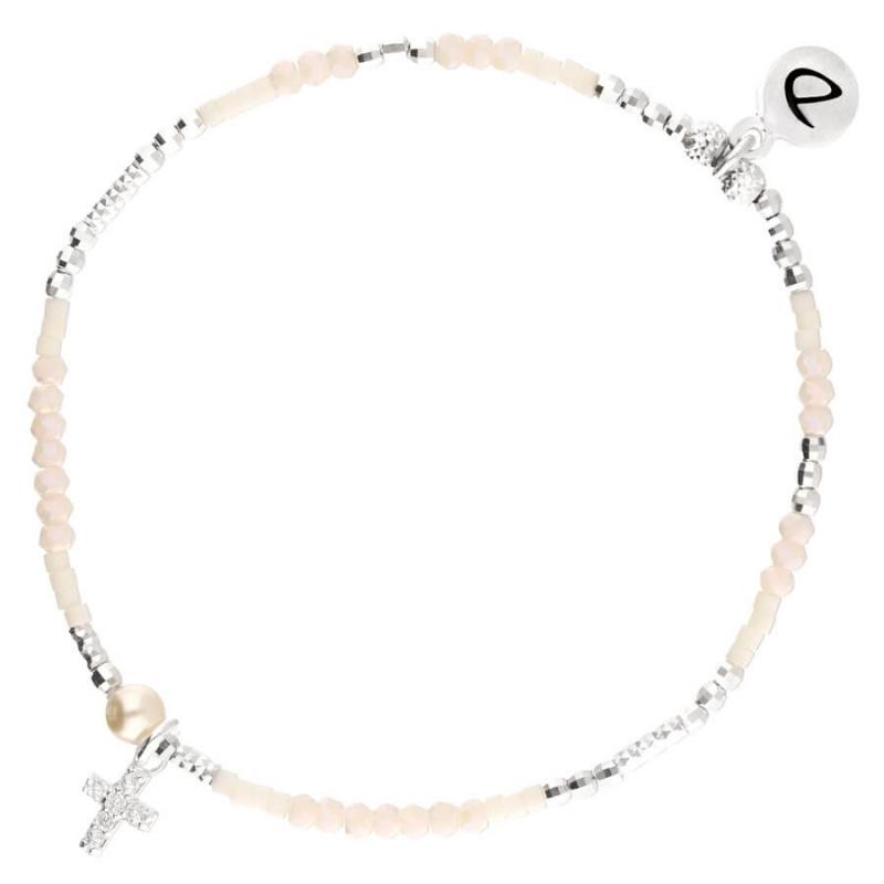 Bracelet élastique Crème...