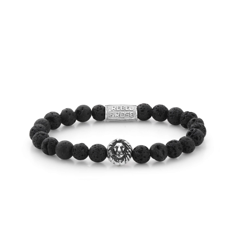 Black Moon lion head stone bracelet - Rebel & Rose