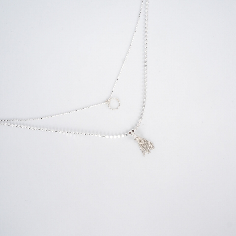 Double chain necklace with...