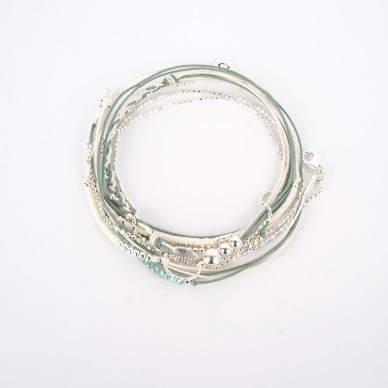 Bracelet vert blanc triple...