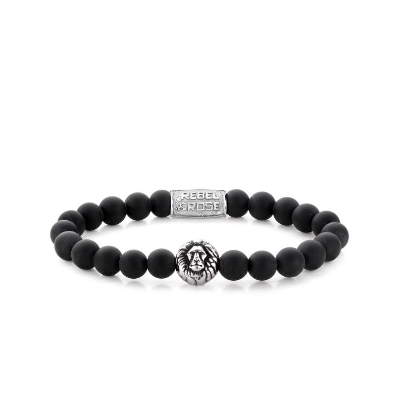Mad Lion head 8mm stone bracelet - Rebel & Rose