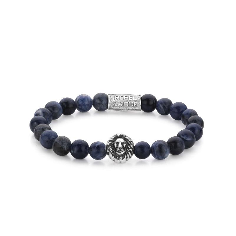 Midnight blue lion head stone bracelet - Rebel & Rose