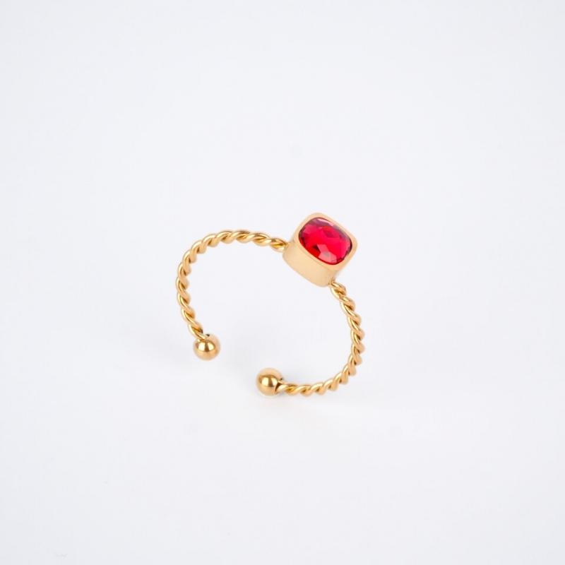 Bague Amael rouge dorée -...