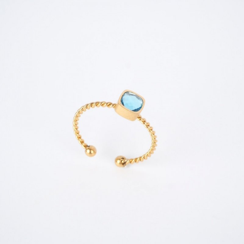 Bague Amael bleue dorée -...