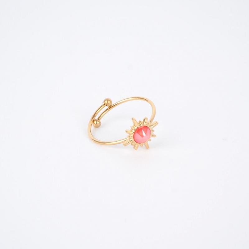 Bague Melany corail dorée -...