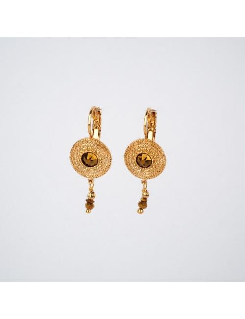 Boucles d'oreilles dormeuses dorées - Satellite Paris