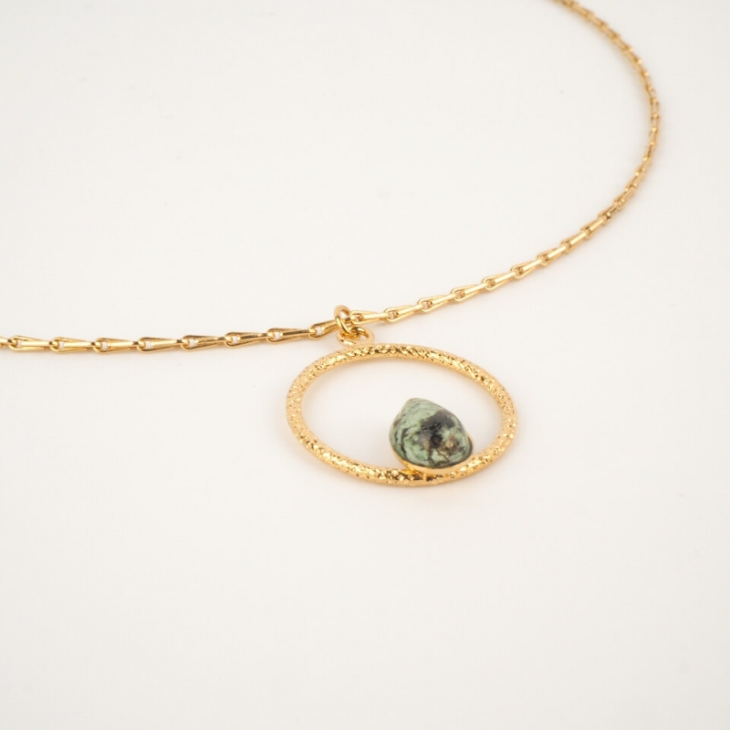 Golden necklace jaspe lili-...