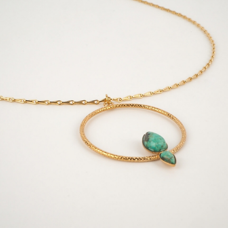 Gold necklace lili 2 stones...