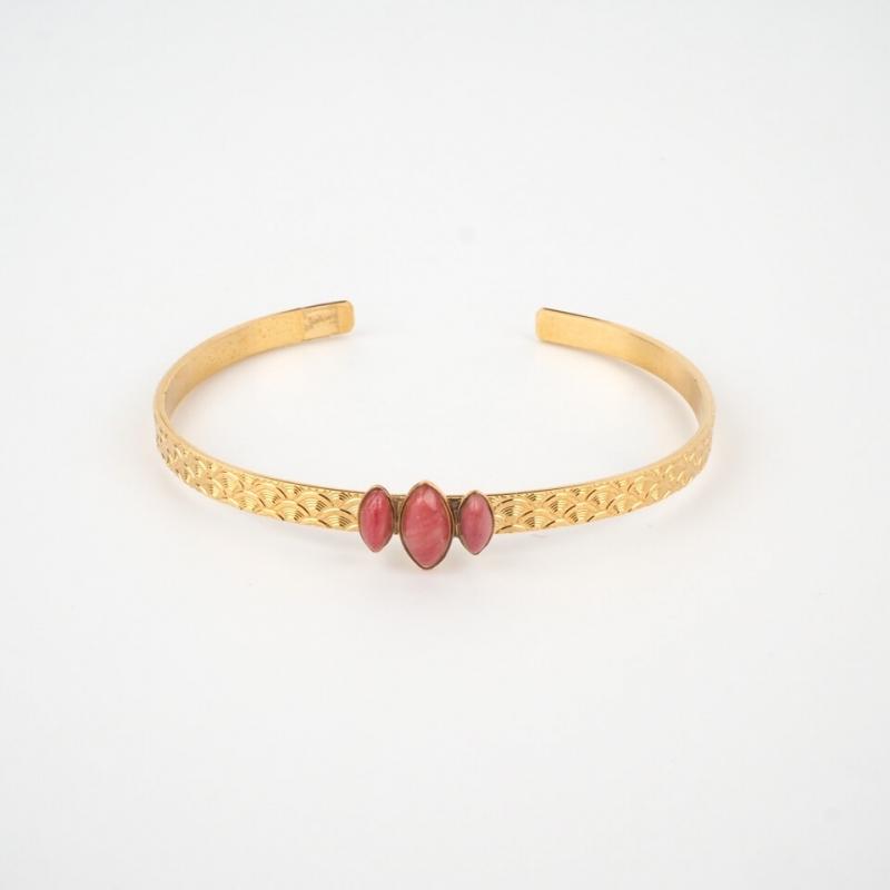 gold bangle 3 stones -...