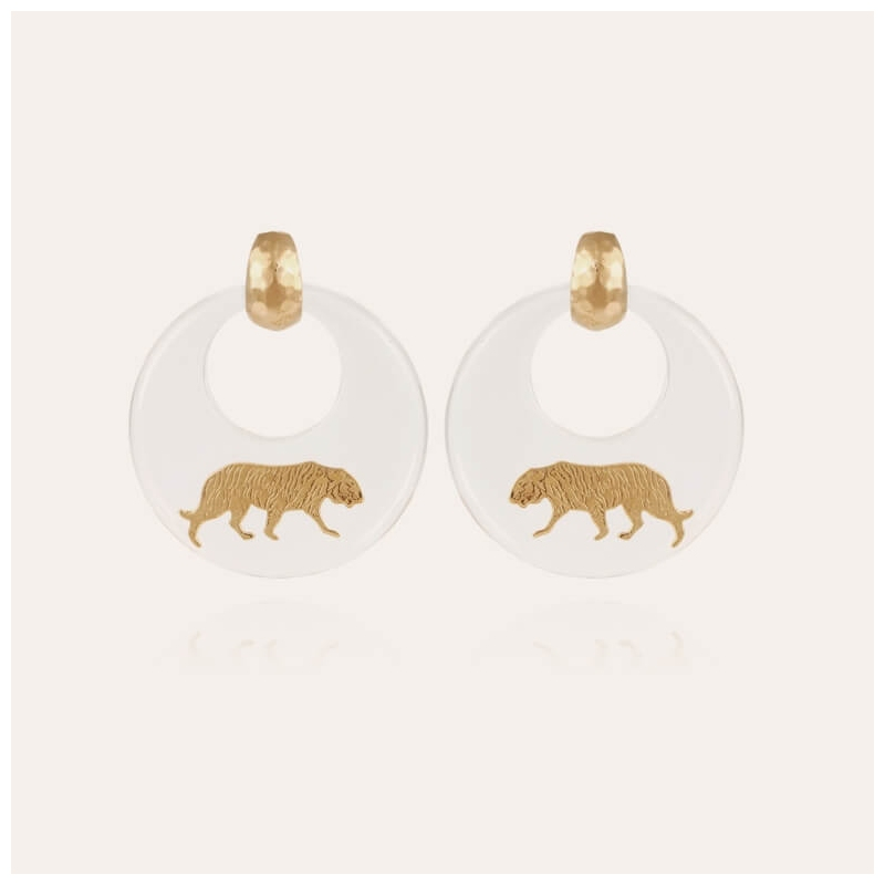 Tiger gold earrings acetate...